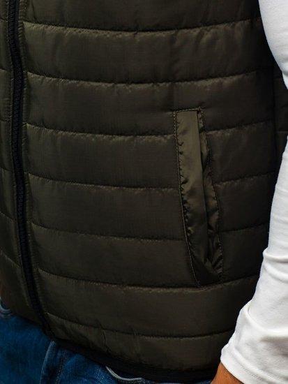 Zelená pánska vesta s kapucňou BOLF AK88