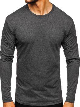 Anrtacitové pánske tričko s dlhými rukávmi bez potlače Bolf 1209