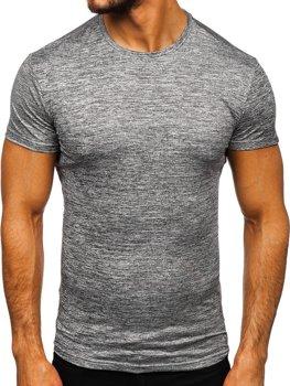 Antracitové pánske tréningové tričko bez potlače BolfS01