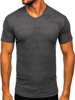 Antracitové pánske tričko bez potlače s výstrihom do V Bolf 192131