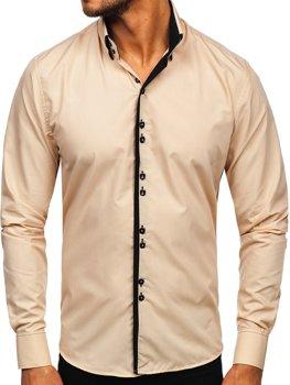 Béžová pánska košeľa s dlhými rukávmi Bolf 1721-1
