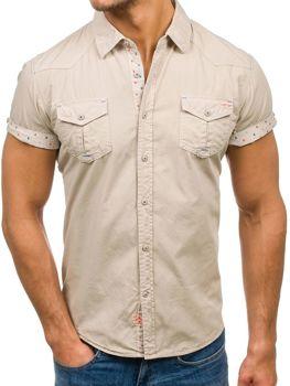 Béžová pánska košeľa s krátkymi rukávmi BOLF 3276