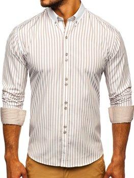 Béžová pánska prúžkovaná košeľa s dlhými rukávmi Bolf 9713