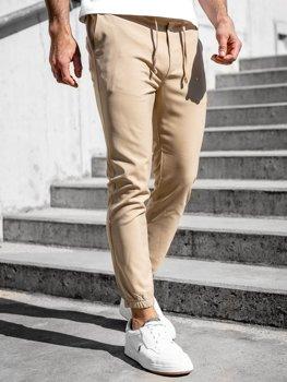 Beżowe spodnie materiałowe joggery męskie Denley 0011