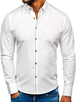 Biela pánska elegantá košeľa s dlhými rukávmi BOLF 6920