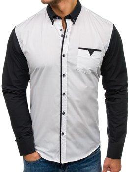 Biela pánska elegantná košeľa s dlhými rukávmi BOLF 5726