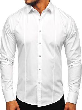 Biela pánska elegantná košeľa s dlhými rukávmi BOLF 6944