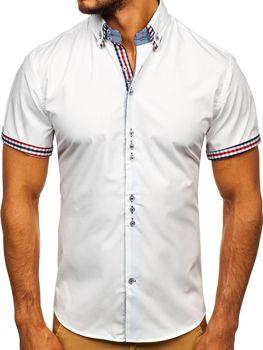Biela pánska elegantná košeľa s krátkymi rukávmi BOLF 3507