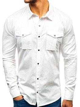 c8b774624bf2 Biela pánska košeľa s dlhými rukávmi BOLF 2058-1