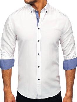 Biela pánska košeľa s dlhými rukávmi Bolf 20719
