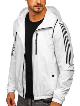 Biela pánska športová prechodná bunda s kapucňou Bolf 6172