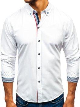 Biela pánska vzorovaná košeľa s dlhými rukávmi BOLF 8843