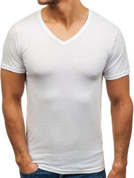 Biele pánske tričko bez potlače s výstrihom do V BOLF 1002