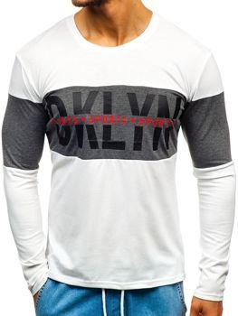 Biele pánske tričko s dlhými rukávmi s potlačou BOLF XXS1090