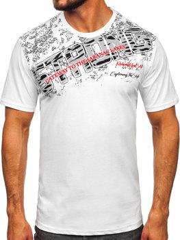 Biele pánske tričko s potlačou BOLF 14234