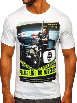 Biele pánske tričko s potlačou BOLF 6298