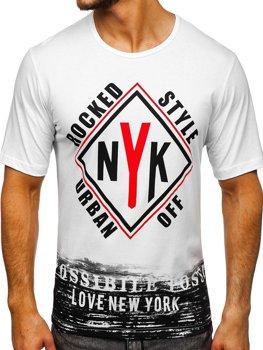 Biele pánske tričko s potlačou BOLF 6305
