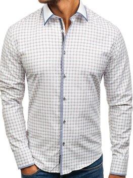 Bielo-bordová pánska károvaná košeľa s dlhými rukávmi BOLF 8812