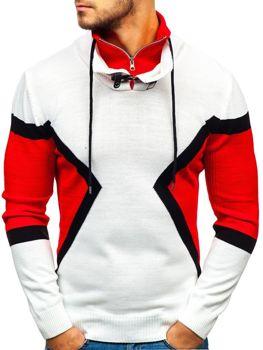 Bielo-červený pánsky sveter BOLF 1011