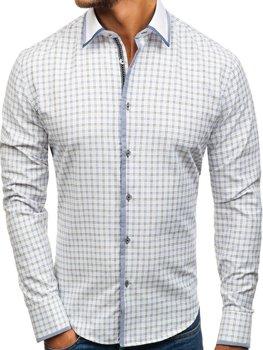 Bielo-čierna pánska károvaná košeľa s dlhými rukávmi BOLF 8812