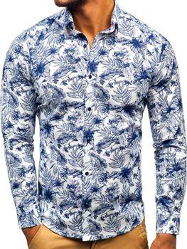4924e4968f78 Bielo-tmavomodrá pánska vzorovaná košeľa s dlhými rukávmi BOLF 200G65