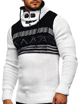 Biely hrubý pánsky sveter zo stojačikom Bolf 2020