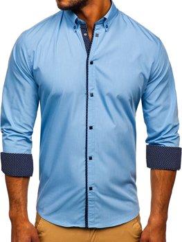 Blankytná pánska elegantá košeľa s dlhými rukávmi BOLF 7724