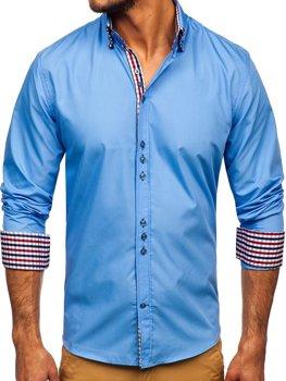 Blankytná pánska elegantná košeľa s dlhými rukávmi BOLF 0926