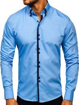 Blankytná pánska elegantná košeľa s dlhými rukávmi BOLF 1721-1