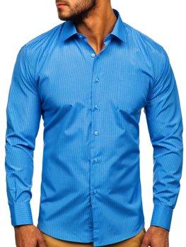 Blankytná pánska elegantná prúžkovaná košeľa s dlhými rukávmi Bolf NDT10
