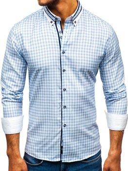 Blankytná pánska károvaná vichy košeľa s dlhými rukávmi BOLF 8808