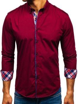 Bordová pánska elegantá košeľa s dlhými rukávmi BOLF 1758