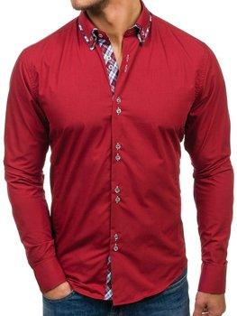Bordová pánska elegantá košeľa s dlhými rukávmi BOLF 4704-1