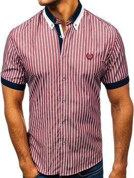 Bordová pánska elegantná károvaná košeľa s krátkymi rukávmi BOLF 4501
