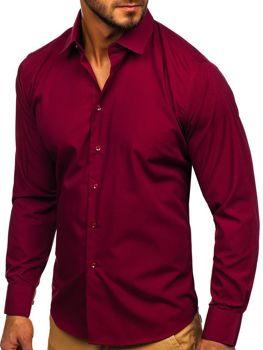 Bordová pánska elegantná košeľa s dlhými rukávmi Bolf 0001