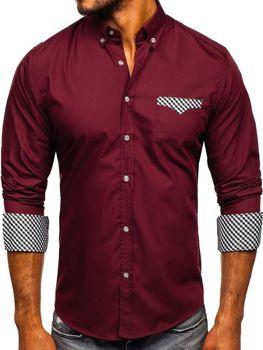 Bordová pánska elegantná košeľa s dlhými rukávmi Bolf Bolf 4711
