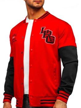 Červená pánska baseballová mikina/bunda s potlačou Bolf B10158