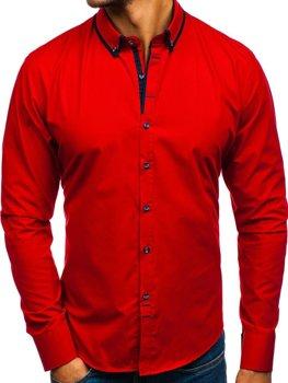 Červená pánska elegantá košeľa s dlhými rukávmi BOLF 8824