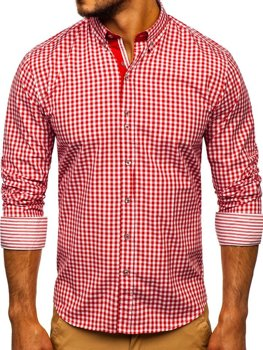 Červená pánska károvaná košeľa s dlhými rukávmi  Bolf 9712