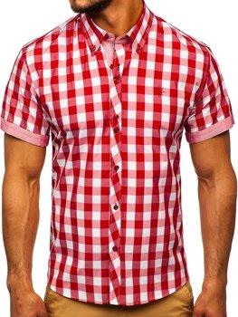 Červená pánska károvaná košeľa s krátkymi rukávmi BOLF 6522