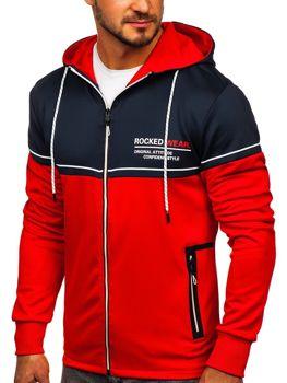 Červená pánska mikina na zips s kapucňou a potlačou Bolf DD20122