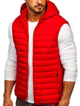 Červená pánska prešívaná vesta s kapucňou Bolf LY36