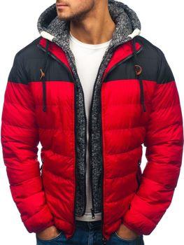 Červená pánska zimná bunda BOLF A131