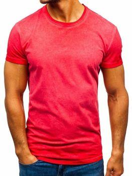 Červené pánske tričko bez potlače BOLF 100728