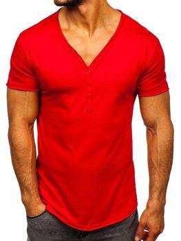 Červené pánske tričko bez potlače Bolf 4049