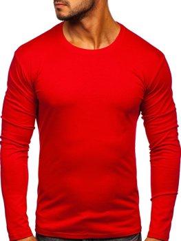 Červené pánske tričko s dlhými rukávmi bez potlače Bolf 2088L