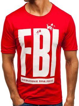 Červené pánske tričko s potlačou BOLF 6295