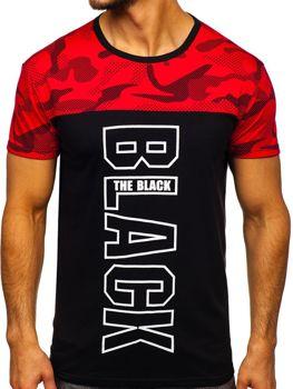 Červené pánske tričko s potlačou Bolf 10859