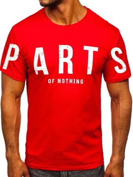 Červené pánske tričko s potlačou Bolf 1180