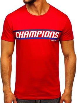 Červené pánske tričko s potlačou Bolf SS10953